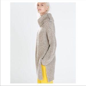 Zara Knit Tan Turtleneck Sweater Top